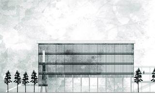 Gravière, vue sud 1:200 «verbindende Landschaften», Beton - & Kieswerk in Bonaduz de