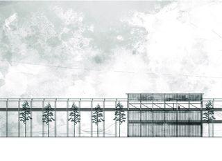 Centre administratif, vue nord 1:200 «verbindende Landschaften», Beton - & Kieswerk in Bonaduz de