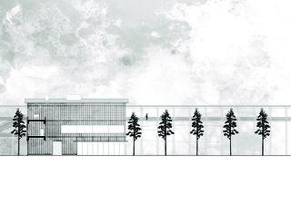 Centre administratif, vue sud 1:200 «verbindende Landschaften», Beton - & Kieswerk in Bonaduz de