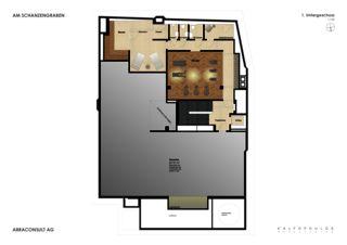 Grundriss 1. UG Umbau und Umnutzung - Am Schanzengraben  von Kalfopoulos Architekten AG