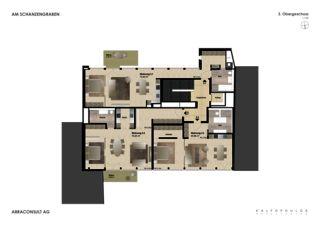 Grundriss 3. OG Umbau und Umnutzung - Am Schanzengraben  von Kalfopoulos Architekten AG