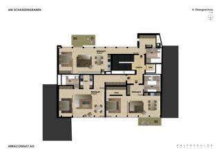 Grundriss 4. OG Umbau und Umnutzung - Am Schanzengraben  von Kalfopoulos Architekten AG