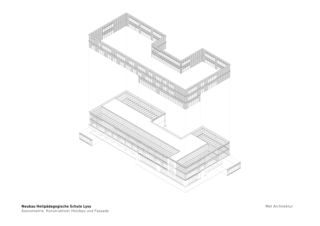 Axonométrie Heilpädagogische Schule de Architektbüro<br/>