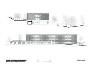 Vue nord-est et nord-ouest Heilpädagogische Schule de Architektbüro<br/>