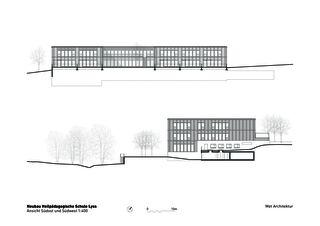 Vue sud-est et sud-ouest Heilpädagogische Schule de Architektbüro<br/>