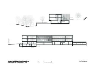 Coupe longitudinale et transversale 1 Heilpädagogische Schule de Architektbüro<br/>
