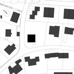 Schwarzplan Neubau Betonhaus in Füllinsdorf von Studio d'architettura wdmra<br/>