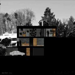 Schnitt C-C Neubau Betonhaus in Füllinsdorf von Studio d'architettura wdmra<br/>