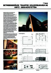 Plakat Arc-Award Betriebsgebäude Trauffer Holzspielwaren von wegmüller und briggen architektur ag