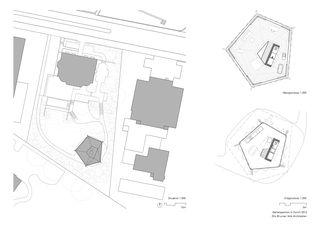 Situation / Grundrisse Gartenpavillon von Oliv Brunner Volk Architekten GmbH