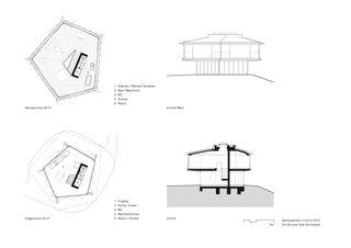 Grundrisse / Schnitt / Fassade Gartenpavillon von Oliv Brunner Volk Architekten GmbH