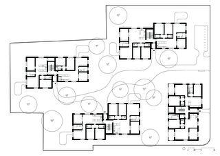 Grundriss Erdgeschoss  Wohnüberbauung im Rebgarten von Morger Partner Architekten AG