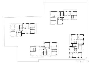 Grundriss 1. Obergeschoss  Wohnüberbauung im Rebgarten von Morger Partner Architekten AG