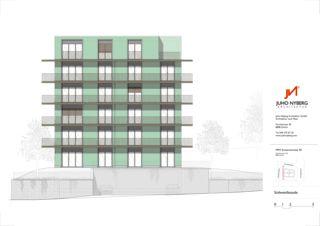 Fassade Südwest Ersatzneubau MFH Sumatrastrasse von Juho Nyberg Architektur GmbH