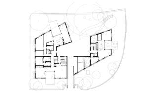 Grundriss Erdgeschoss Neubau zwei Mehrfamilienhäuser von Ferrara Architekten AG
