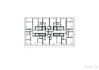 Grundriss 7. Obergeschoss Wohn- und Geschäftsüberbauung Rosentalstrasse von Morger Partner Architekten AG