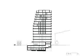 Schnitt_1 Wohn- und Geschäftsüberbauung Rosentalstrasse von Morger Partner Architekten AG
