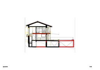 Coupe transversale Einfamilienhaus Waldrietstrasse de Marazzi + Paul Architekten AG