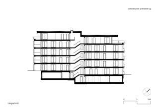 Längsschnitt MFH Schönheim, Affoltern am Albis von weberbrunner architekten ag