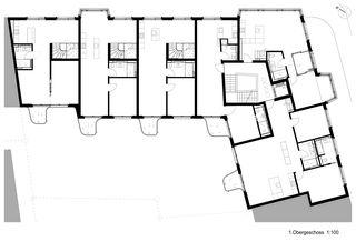 Plan 1er étage Wohnüberbauung Münchhaldeneck de atelier ww Architekten SIA AG