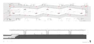 Werkpläne Grundriss und Längsschnitt Bushof Schwerzenbach von 10:8 Architekten GmbH