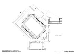 Plan 1e étage St. Jakobshalle de ARGE Degelo / Berrel Berrel Kräutler