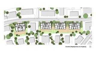 Étage type avec environnement Ersatzneubau Siedlung Gorwiden, Zürich de ERP Architekten AG