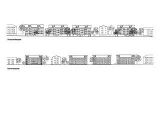 Façade rue et façade jardin Ersatzneubau Siedlung Gorwiden, Zürich de ERP Architekten AG