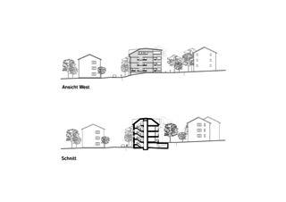 Elevation ouest / Coupe Ersatzneubau Siedlung Gorwiden, Zürich de ERP Architekten AG