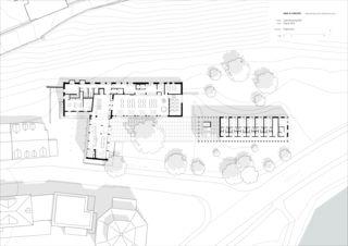 Grundriss Erdgeschoss Um- und Neubau Jugendherberge Bern von Aebi & Vincent Architekten SIA AG
