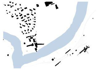 Schwarzplan 1:1000 IL SCANATSCH, Kies-& Betonwerk in Reichenau/Tamins(GR) von