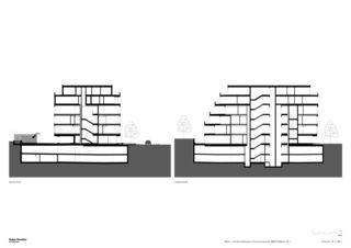 Querschnitte 1:200 Neubau Wohn- und Geschäftshaus, Churerstrasse 54, 8808 Pfäffikon SZ von Halter Hunziker Architekten AG