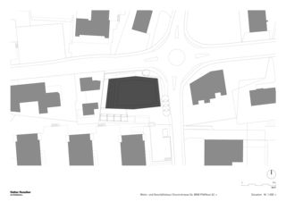 Situation 1:500 Neubau Wohn- und Geschäftshaus, Churerstrasse 54, 8808 Pfäffikon SZ von Halter Hunziker Architekten AG