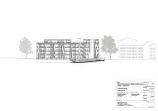 Fassadenansicht Ost Wohnüberbauung Mehrfamilienhaus Arborea von Halle 58 Architekten GmbH