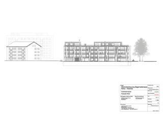 Fassadenansicht West Wohnüberbauung Mehrfamilienhaus Arborea von Halle 58 Architekten GmbH