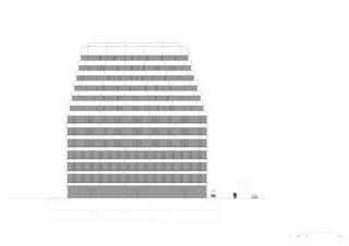 Ansicht Süd-Ost Wohn- und Geschäftsüberbauung Rosentalstrasse von Morger Partner Architekten AG