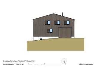 Nordostfassade Ersatzbau Ferienhaus