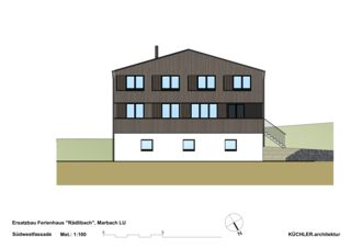 Südwestfassade Ersatzbau Ferienhaus