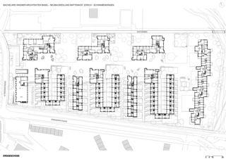 Plan rez-de-chaussée Neubausiedlung Mattenhof in Zürich-Schwamendingen de Bachelard Wagner Architekten ETH SIA BSA
