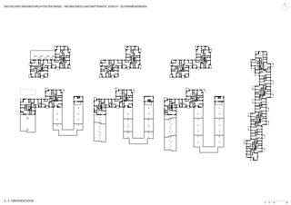 Plan 2e et 4e étage Neubausiedlung Mattenhof in Zürich-Schwamendingen de Bachelard Wagner Architekten ETH SIA BSA