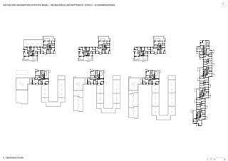 Plan 5e et 6e étage Neubausiedlung Mattenhof in Zürich-Schwamendingen de Bachelard Wagner Architekten ETH SIA BSA
