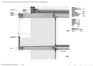 Detail Dachanschluss mit Balkon Neubausiedlung Mattenhof in Zürich-Schwamendingen von Bachelard Wagner Architekten ETH SIA BSA