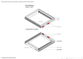 Axonometrie Betonkranz Neubausiedlung Mattenhof in Zürich-Schwamendingen von Bachelard Wagner Architekten ETH SIA BSA