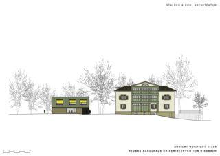 Elevation nord-est Schulhaus Krisenintervention Riesbach de Stalder & Buol Architektur