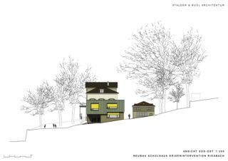 Elevation sud-est Schulhaus Krisenintervention Riesbach de Stalder & Buol Architektur