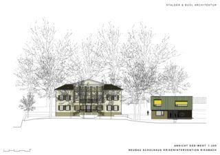 Elevation sud-ouest Schulhaus Krisenintervention Riesbach de Stalder & Buol Architektur