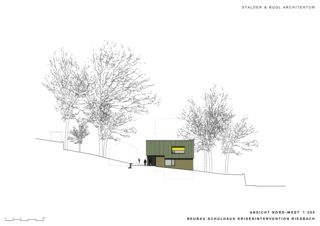 Elevation nord-ouest Schulhaus Krisenintervention Riesbach de Stalder & Buol Architektur
