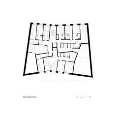 Plan étage mansardé Neubau Jugendherberge Gstaad - Saanenland de Bürgi Schärer Architekten AG
