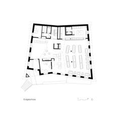 Plan rez-de-chaussée Neubau Jugendherberge Gstaad - Saanenland de Bürgi Schärer Architekten AG