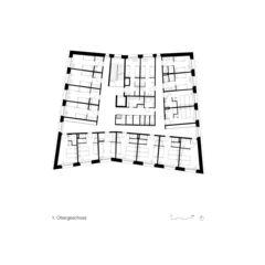 Plan niveau 1 Neubau Jugendherberge Gstaad - Saanenland de Bürgi Schärer Architekten AG